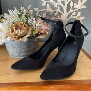 MIA black suede heels with ankle strap/buckle